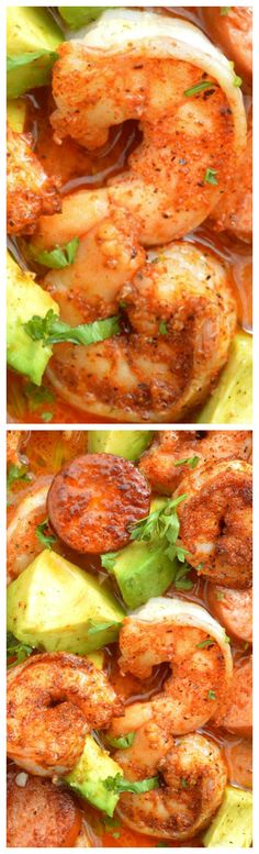 Cajun Shrimp and Andouille with California Avocado ~ The shrimp, the Andouille, the California avocados and the heat of the sauce all play perfectly off of each other, bite after bite... Serve it over rice or pasta or simply eat it on its own with crusty bread to dip in the sauce - Serious yum!