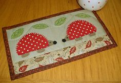 Red Hedgehogs Mug Rug by The Patchsmith, via Flickr