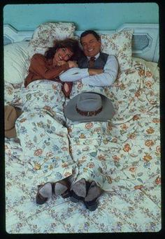 """I love this picture of Larry & Linda laying on the bed. Best Tv Shows, Favorite Tv Shows, Charlene Tilton, Southfork Ranch, Josh Henderson, Donna Mills, Patrick Duffy, Dallas Tv Show, Larry Hagman"