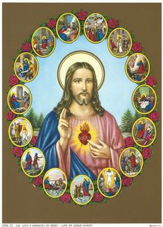 Sacred Heart of Jesus with Scenes from His life Religious Art Print Picture - 7 x ready to frame! Pictures Of Jesus Christ, Religious Pictures, Catholic Art, Religious Art, Image Jesus, Christian Artwork, Religion Catolica, Christ The King, Spiritual Symbols