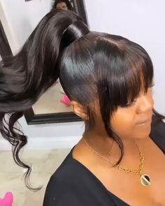 Black Ponytail Hairstyles, Hair Ponytail Styles, Sleek Ponytail, Hairstyles With Bangs, Pretty Hairstyles, Curly Hair Styles, Natural Hair Styles, Weave Ponytails With Bangs, Colored Weave Hairstyles
