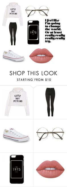 """""""Untitled #4"""" by dianacraciun on Polyvore featuring Topshop, Converse and Lime Crime"""