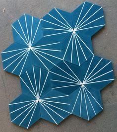 Dandelion-blue-tiles-Designs-By-Claesson-Koivisto-Rune-for-Marrakech-Design-Remodelista - Hotels Concept Floor Design, Tile Design, House Design, Floor Patterns, Tile Patterns, Tadelakt, Hexagon Tiles, Geometric Tiles, Mosaic Tiles