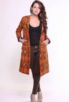 Buy online Jackets Dresses - Cotton ikat jacket (orange & brown) from Frinky Town Look Fashion, Indian Fashion, Fashion Outfits, Kurta Designs, Blouse Designs, Dress Designs, Indian Jackets, Shrug For Dresses, Trendy Dresses