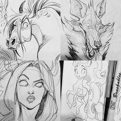 Sketchdump! Some recent sketchbook-sketches. 😊 #art #arty #artwork #artstagram #vixiearts #draw #draws #drawing #illustration #2d #sketch #sketches #ballpointpenart #face #horse #unicorn #wolf