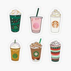 Stickers Kawaii, Preppy Stickers, Pop Stickers, Red Bubble Stickers, Anime Stickers, Printable Stickers, Starbucks Art, Hand Lettering Art, Printable Scrapbook Paper
