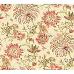 60.75 sq. ft. Williamsburg II Braganza Wallpaper, Beige/Bright Red/Pink/Green/Tan