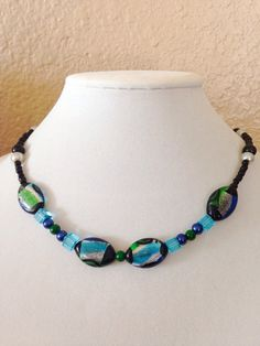 Black beaded necklace blue beaded necklace green by KCstylejewelry