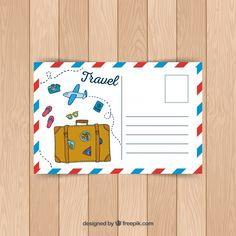 Travel postcard template in hand drawn style Free Vector Postcard Layout, Postcard Template, Postcard Design, Best Travel Journals, Mandala Art Lesson, Fabric Postcards, Diy Gift Box, Diy Presents, Travel Scrapbook