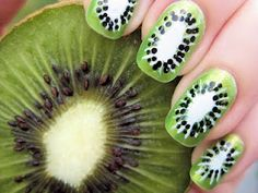 Kiwi nail art this would be awesome to do for Halloween if you and your friends were going as different fruits
