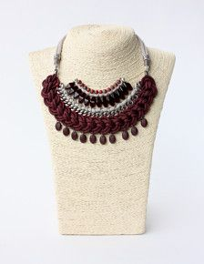 Marsala cord statement necklace, decorated with taupe soft cotton cord, different types of crystal beads and pendants, zamak roundels and brass chain. Magnetic closure.  Measures 17 (44cm) approximately Completely handmade in Barcelona  The necklace comes in a cloth bag to keep it