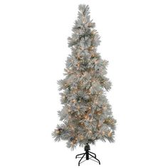 6′ Slim Flocked Stone Pine Artificial Christmas Tree – Clear Dura Lights  http://www.fivedollarmarket.com/6-slim-flocked-stone-pine-artificial-christmas-tree-clear-dura-lights/