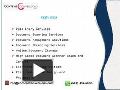 Data Entry Services and Document Scanning with Contentconversions. Convert paper into digital format!. Outsource data entry services, document management.