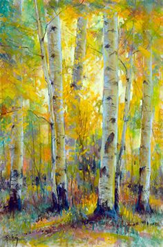 Morning Glow by Robert Rohm Pastel ~ 21 x 14 Abstract Tree Painting, Watercolor Trees, Watercolor Landscape, Landscape Art, Landscape Paintings, Watercolor Paintings, Yellow Painting, Watercolour, Birch Tree Art