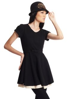 GRACIA Black Short Sleeve Belted Lady Dress $59.99