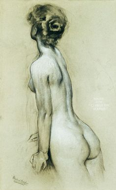 Herbert James Draper - A Naiad in The Lament for Icarus (charcoal & chalk on paper)