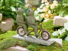 Tandem Bicycle Frogs #DetailedCementSculpture #Frog #LilypadLane #GrasslandsRoad #GardenDecor #Garden #tandembicycle #GiftIdea #StockingStuffer