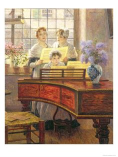 Around the Piano, by Walter Firle (German, Piano Y Violin, Piano Art, Charles Edward, Piano Lessons For Beginners, Framed Artwork, Wall Art, Playing Piano, Music Pictures, Music Pics