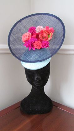 Navy and Aqua Wedding Hat Hatinator with by HatCoutureDesigns Aqua Wedding, Wedding Hats, Lilac Fascinator, Ascot Ladies Day, Hat Styles, Bride Of Christ, Fascinators, Kentucky Derby, Pink Flowers
