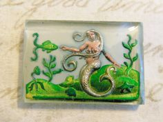 Rare vintage mermaid intaglio reverse painted carved cab cabochon crystal glass cameo unique seas water ariel (1)