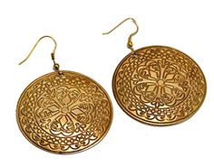 A Pair of Indian Hand Carved Brass Metal Traditional Boho Hippie Earrings Aife_718 Krishna Mart India http://www.amazon.com/dp/B00MIZFGVS/ref=cm_sw_r_pi_dp_8kqJvb0B822TB