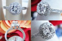 0.80CT Round Brilliant Pave Halo Diamond Engagement Ring