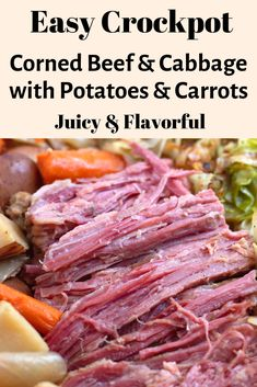 A traditional St. Paddy's Day recipe, this crockpot corned beef and cabbage dinner is easy and flavorful. Made with beer, potatoes, carrots and onions it's the best corned beef recipe! patricks day dinner recipes Crockpot Corned Beef and Cabbage Dinner Corned Beef Brisket, Cooking Corned Beef, Slow Cooker Corned Beef, Crock Pot Cooking, Cooking Recipes, Easy Recipes, Crockpot Cabbage Recipes, Best Corned Beef Recipe, Crock Pot Corned Beef And Cabbage Recipe