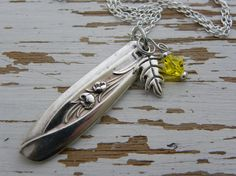 Spoon handle pendant necklace - leaf charm - yellow birthstone crystal bead color - re purposed silver spoon - floral flatware sharp design