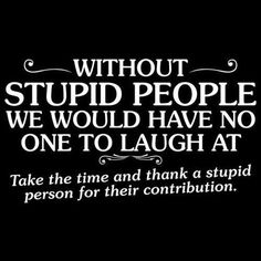 ohhh thanks you guys for brightening my life :D stupid people FTW!