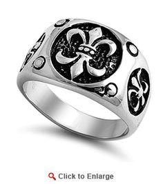 Stainless Steel Triple Fleur de Lis Ring $49