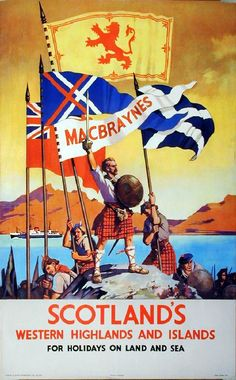 Vintage poster promoting travel to Scotland's Western Highlands and Islands Posters Uk, Railway Posters, Cool Posters, Retro Poster, Poster Ads, Poster Vintage, Tourism Poster, Vintage Advertisements, Vintage Ads