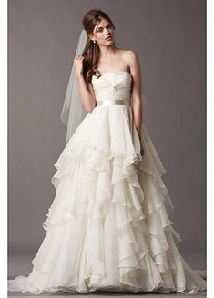 Gorgeous Organza Satin & Stretch Charmeuse A-line Strapless Neckline Wedding Dress - 209.99