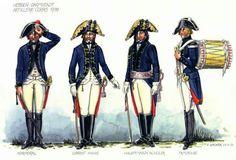 Hessen-Darmstadt; Artillery, Korporal Obrist Hahn, Hauptmann Schuler & Drummer, 1799