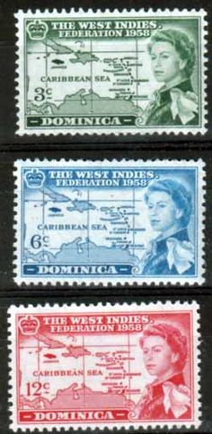 Dominica 1958 B W I Federation Set Fine Mint SG 159 61 Scott 161 3 Other West Indies Stamps HERE