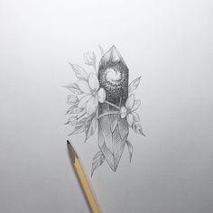Artist: tattooer_intat  Celestial, Galaxy, crystal, sketch, tattoo, design, flower, floral, linework
