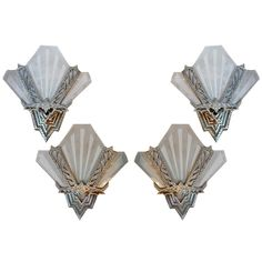 Antique Set Of Four Art Deco Sconces | From a unique collection of antique and modern wall lights and sconces at https://www.1stdibs.com/furniture/lighting/sconces-wall-lights/
