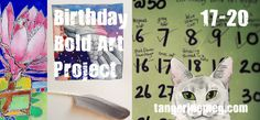 Blog post: Birthday Bold Art Project, Paintings 17 to 20 | Cats, an angel and a tutu-ed person fetching thread! M x o