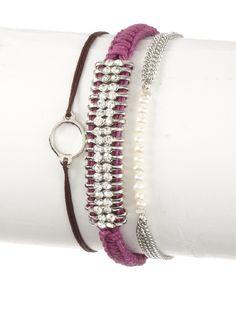 Shashi White and Purple Sparkle and Swarovski Bracelet Set at MYHABIT