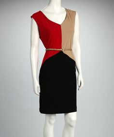 Take a look at this Black & Red Color Block Belted Dress by Voir Voir on #zulily today! $19.99, regular 80.00