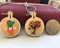 Mini-hoop embroidered pendant for sale on Etsy