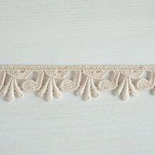 #Organic #lace #trim 26 mm wide natural ecru cotton colour undyed, asymmetrical leaves www.lancasterandcornish.com #bridal #wedding #trim #lampshade #dressmaking #sewing #millinery #lingerie