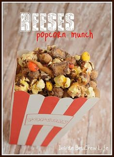 reeses popcorn much    6 c. popped popcorn  1 bag of the mini Reeses cups, cut in half (not the ones in wrappers)  1 c. Reeses pieces  1/2 c. white chocolate chips, melted with 1 tsp. shortening  1 c. Reeses Puff cereal  1/4 c. peanut butter chips, melted with 1/2 tsp. shortening  1/4 c. chocolate chips, melted with 1/2 tsp. shortening    Mix popco