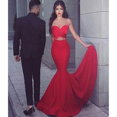 Red Simple Sexy Mermaid Two Pieces Sweetheart Cheap Long Prom Dress, BG51496