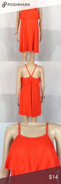 "Old Navy Women's Ruffle-Trim Swing Dress Model: 5'8"". NWT Old Navy Ruffle-Trim Swing Dress, Color: Hot Tamale, Materials: 95% rayon/viscose, 5% spandex/Elastane. Machine wash. Old Navy Dresses"