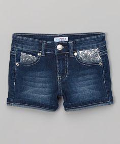 Love this MiniMOCA Medium Blue Sequin-Pocket Denim Shorts - Girls by MiniMOCA on #zulily! #zulilyfinds