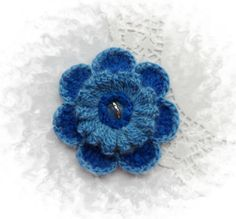 CROCHET CORSAGE BROOCH APPLIQUE  BLUE MOHAIR FLOWER  in Crafts, Needlecrafts & Yarn, Crocheting & Knitting, Other Crocheting & Knitting | eBay