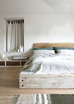Wooden bed, but dark wood