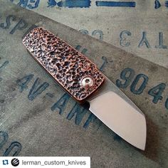 with ・・・ Got the copper scales from Nati aka yesturday, still alot of thinking to do on this proto, the screws will be different and the blade needs some more twicking *you will notice that the two scales have different texture, which one you like best