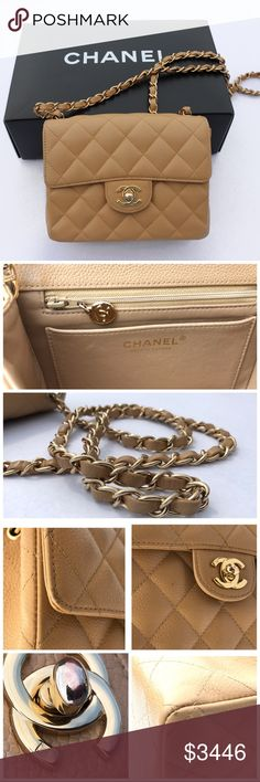 Authentic Chanel vintage square mini Selling on Ⓜ️ercari for $2,756 Authentic Chanel vintage Quilted Matorasse Shoulder Bag Beige caviar Leather made in France. Has minor marks but still in excellent condition! No smells and comes with original authentic Chanel packaging. Has been treated with care! CHANEL Bags Shoulder Bags