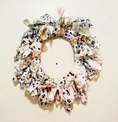 Today I created this light and pretty Rag Wreath - Perfect to help welcome spring. & I decided to share a simple tutorial on how to make. Welcome Spring, Burlap Wreath, Floral Wreath, Wreaths, Simple, Pretty, How To Make, Blog, Diy